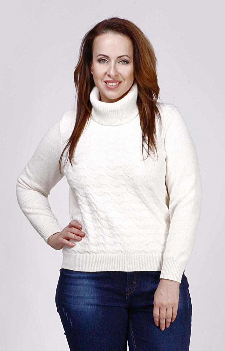 Свитерw193Модный женский свитер Milana Style, изготовленный из шерсти и ПАН-волокна, мягкий и приятный на ощупь, не сковывает движений и обеспечивает комфорт. Модель с воротником-гольф и длинными рукавами оформлена оригинальным вязаным узором. Воротник, манжеты рукавов и низ свитера связаны резинкой.