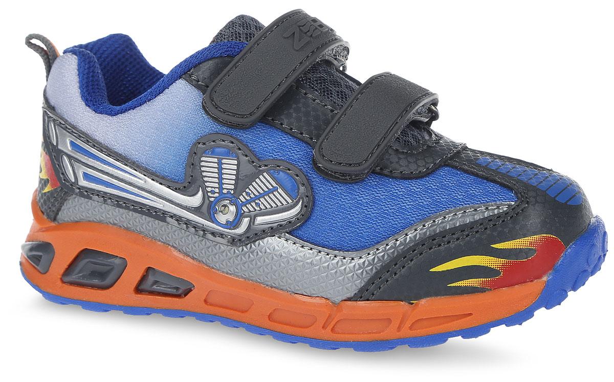 10869-1Модные кроссовки от фирмы Зебра займут достойное место среди коллекции обуви вашего мальчика! Обувь декорирована яркой аппликацией, а также оснащена подошвой, светящейся при ходьбе. Два ремешка на застежках-липучках надежно фиксируют изделие на ноге. Стелька из ЭВА материала обеспечивает амортизацию при движении и максимальную устойчивость, снижает общую утомляемость ног. Супинатор на стельке предотвращает развитие плоскостопия. Подошва с протектором гарантирует отличное сцепление с любыми поверхностями. Удобные кроссовки - незаменимая вещь в гардеробе каждого ребенка.
