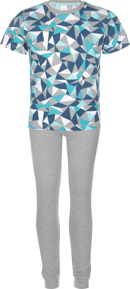 ПижамаPYb-7862/011-6302Очаровательная пижама для мальчика Sela, состоящая из футболки и брюк, идеально подойдет вашему малышу и станет отличным дополнением к детскому гардеробу. Изготовленная из качественного материала, она необычайно мягкая и легкая, не сковывает движения, позволяет коже дышать и не раздражает даже самую нежную и чувствительную кожу ребенка. Футболка с короткими рукавами и круглым вырезом горловины оформлена оригинальным геометрическим принтом. Брюки на талии имеют эластичную резинку, благодаря чему не сдавливают живот ребенка и не сползают. Объем талии регулируется при помощи шнурка-кулиски. В такой пижаме ваш маленький модник будет чувствовать себя комфортно и уютно во время сна.