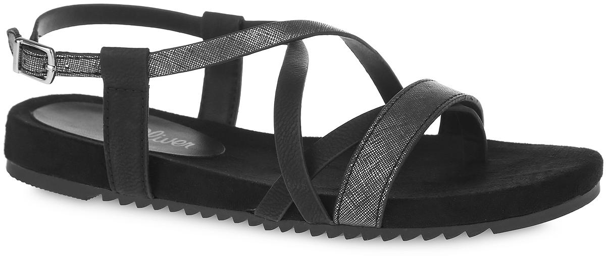 5-28116-26-098Оригинальные сандалии от фирмы S.Oliver, выполненные из искусственной кожи. На щиколотке имеется ремешок с металлической пряжкой, позволяющий регулировать обхват по вашему размеру. Подошва модели выполнена из прочного материала, устойчивого к истиранию и многократному изгибу. Сандалии - очень практичная и удобная летняя обувь, их можно сочетать с самыми разнообразными вещами вашего гардероба, они сделают вас ярче и подчеркнут индивидуальность.