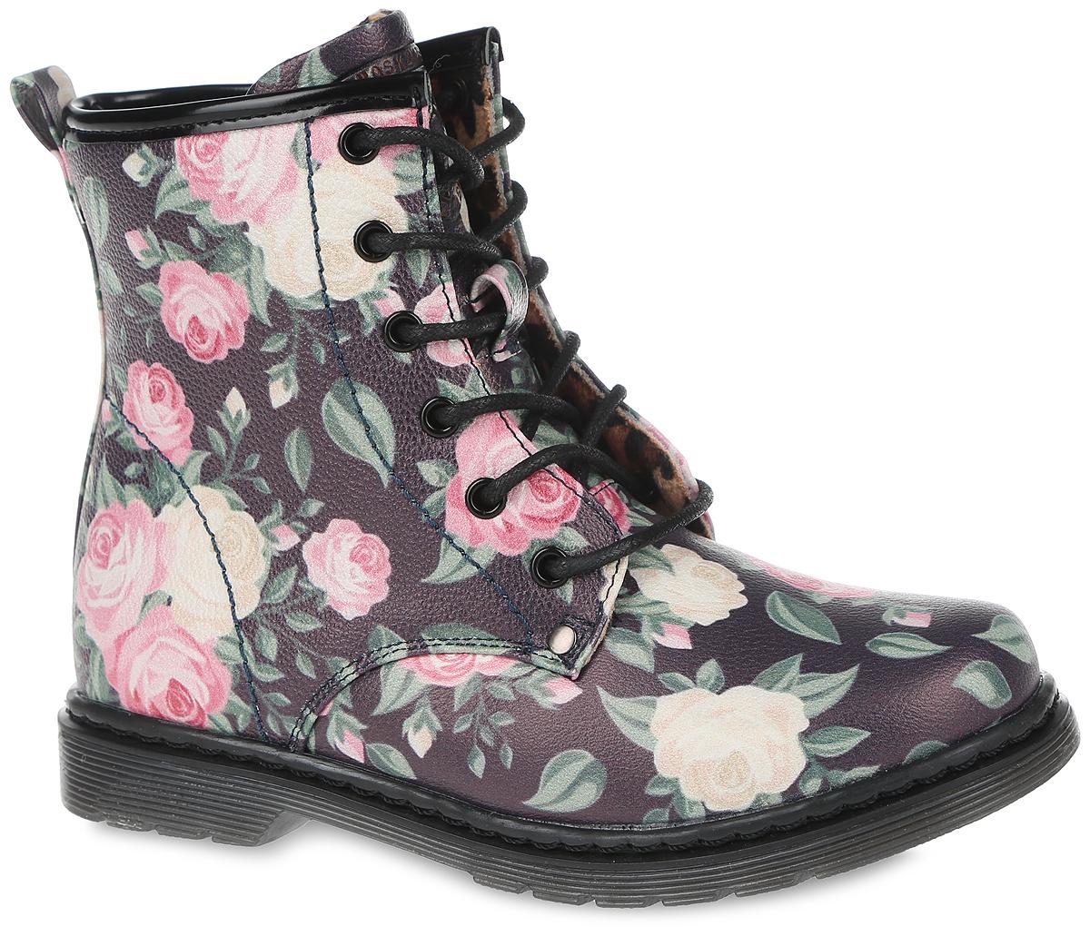 Ботинки для девочки. 635-551-10635-551-10Прелестные ботинки от Adagio приведут в восторг маленькую модницу! Модель выполнена из искусственной кожи и оформлена цветочным принтом, ботинки застегиваются на застежку-молнию, расположенную на боковой стороне. Шнуровка прочно зафиксирует обувь на ноге. Подкладка и стелька, исполненные из мягкого текстиля, комфортны при ходьбе. Низкий каблук и подошва с протектором обеспечивают идеальное сцепление с любыми поверхностями. Удобные и модные ботинки - необходимая вещь в гардеробе каждого ребенка.