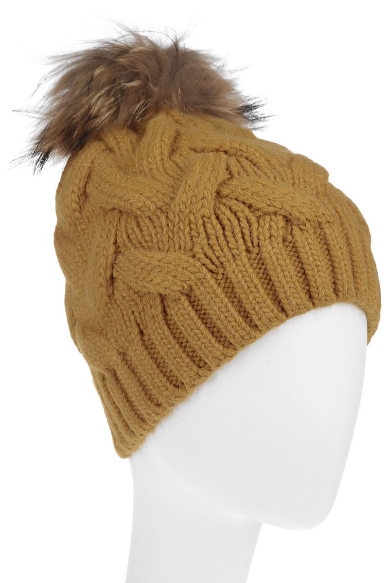 Шапка женская. B346527B346527Вязаная женская шапка Baon отлично подойдет для модниц в холодное время года. Она мягкая и приятная на ощупь, обладает хорошими дышащими свойствами и максимально удерживает тепло. Красивый съемный помпон из натурального меха отлично дополняет головной убор. Изделие оформлено крупным вязаным узором, а также дополнено небольшой металлической пластиной с названием бренда. Такой стильный и теплый аксессуар подчеркнет ваш образ и индивидуальность.