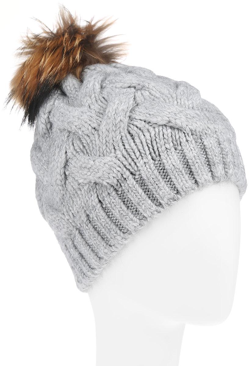 Шапка женская. B346527B346527Вязаная женская шапка Baon отлично подойдет для модниц в холодное время года. Она мягкая и приятная на ощупь, обладает хорошими дышащими свойствами и максимально удерживает тепло. Красивый съемный помпон из натурального меха отлично дополняет головной убор. Изделие оформлено крупным вязаным узором и , а также дополнено небольшой металлической пластиной с названием бренда. Такой стильный и теплый аксессуар подчеркнет ваш образ и индивидуальность.