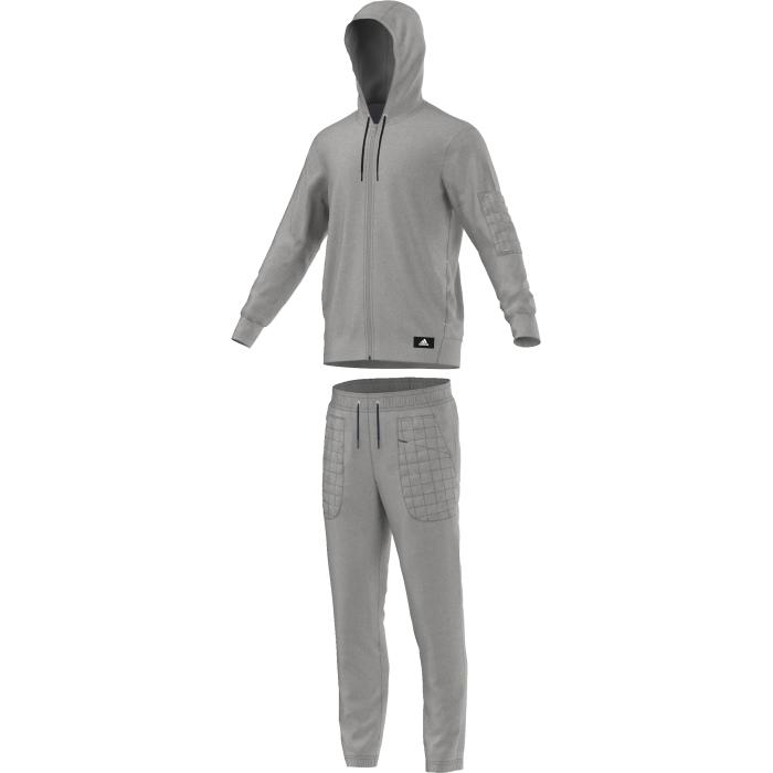 Спортивный костюмAY2995Классический спортивный костюм для мужчин. Модель из комфортной меланжевой ткани футер. Толстовка приталенного кроя с застежкой на молнию, дополнена боковыми карманами на молнию. Брюки удобного зауженного кроя с боковыми карманами на молнии, эластичный пояс на регулируемых завязках-шнурках.