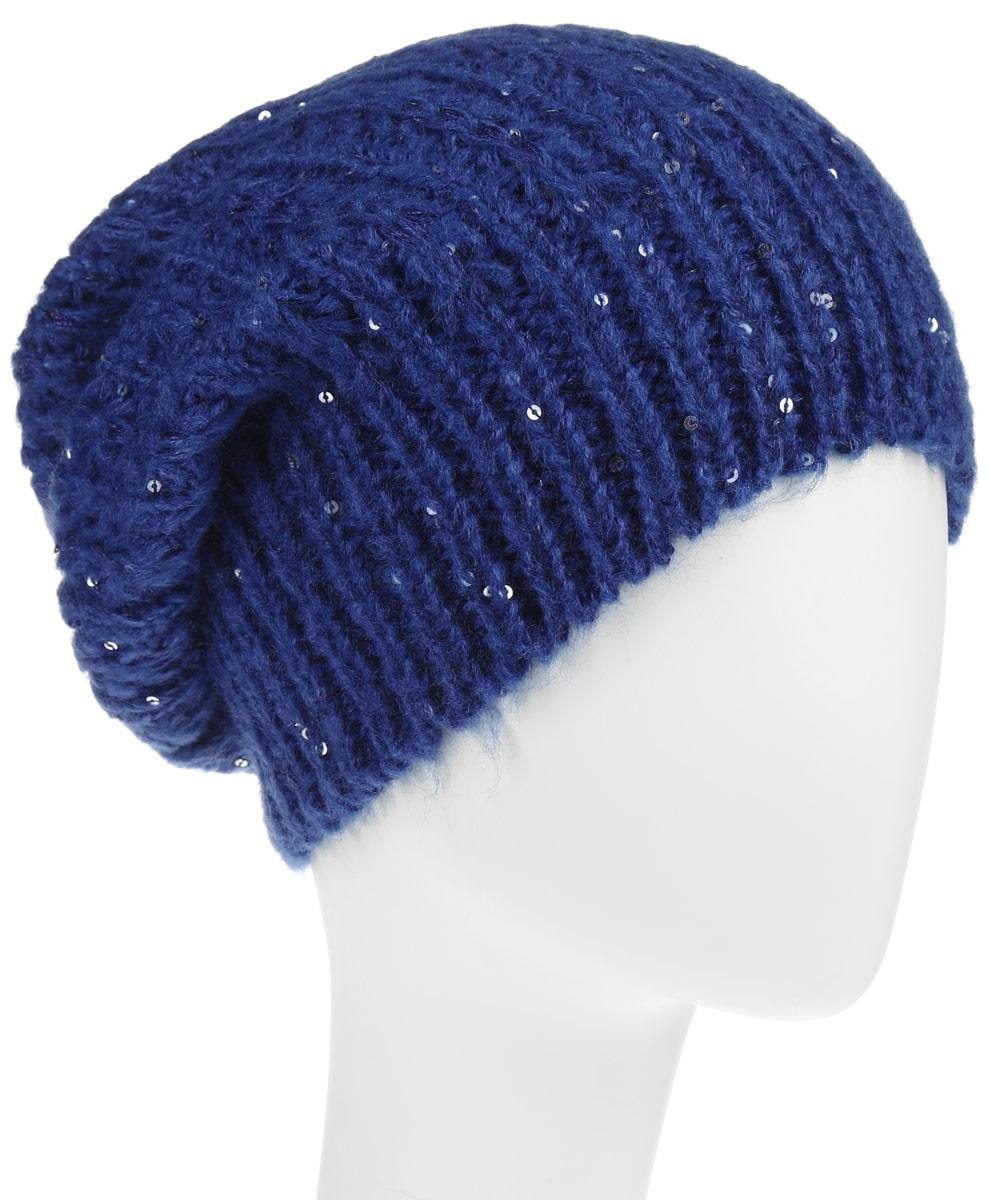 Шапка женская. HAk-141/313-6302HAk-141/313-6302Вязаная женская шапка Sela отлично подойдет для модниц в холодное время года. Она мягкая и приятная на ощупь, обладает хорошими дышащими свойствами и максимально удерживает тепло. Изделие оформлено оригинальным вязаным узором и дополнена пайетками. Такой стильный и теплый аксессуар подчеркнет ваш образ и индивидуальность.