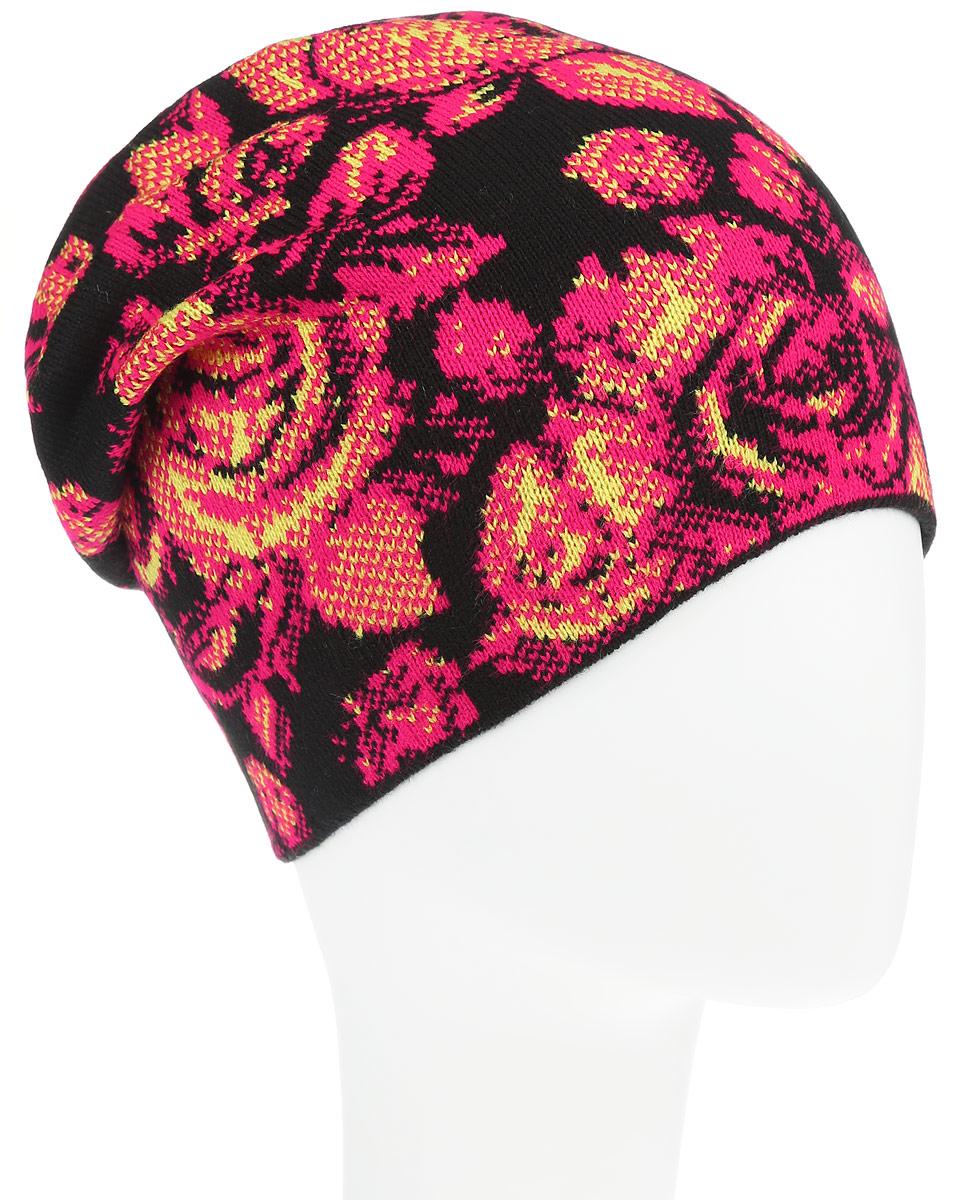 Шапка женская. B346508B346508Оригинальная женская шапка Baon дополнит ваш наряд и не позволит вам замерзнуть в холодное время года. Шапка выполнена из высококачественного акрила, что позволяет ей великолепно сохранять тепло и обеспечивает высокую эластичность и удобство посадки. Шапка оформлена контрастным цветочным узором. Такая шапка станет модным и стильным дополнением вашего зимнего гардероба, великолепно подойдет для активного отдыха и занятия спортом. Она согреет вас и позволит подчеркнуть свою индивидуальность.