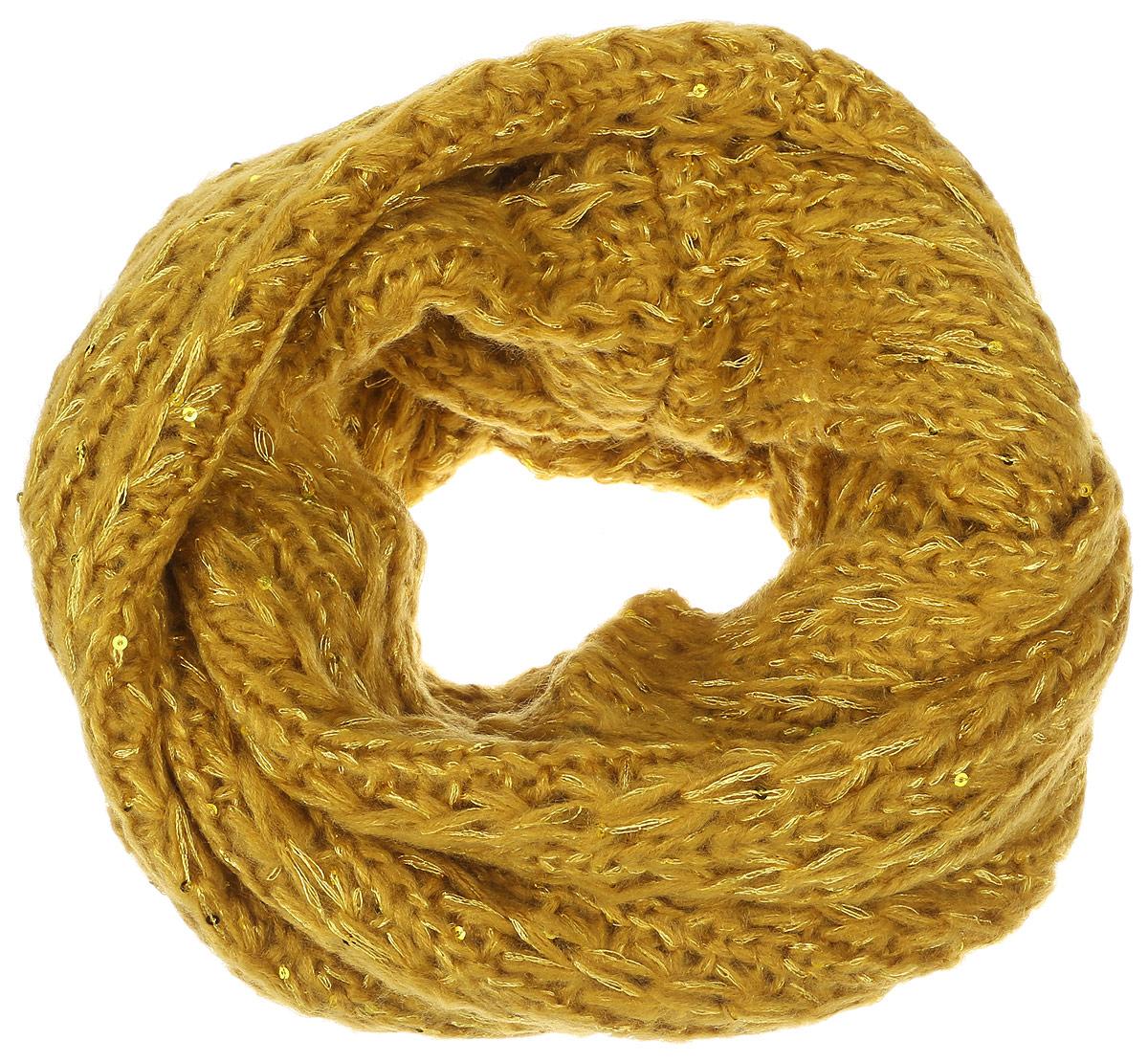 Снуд-хомут женский. SC-142/445-6302SC-142/445-6302Стильный снуд-хомут Sela, выполненный из акрила и полиэстера, создан подчеркнуть ваш неординарный вкус и согреть вас в прохладное время года. Снуд-хомут можно носить на голове, на шее и груди. Высокое качество материала максимально сохраняет тепло и обеспечивает удобную посадку. Модель отличается невероятной легкостью и мягкостью. Снуд-хомут украшен пайетками. Этот модный аксессуар гармонично дополнит образ современной женщины, которая стремится всегда оставаться стильной и элегантной.