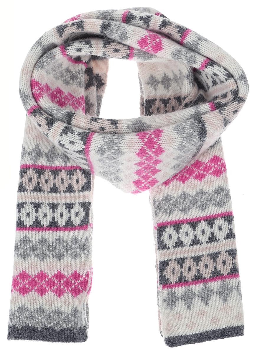 Шарф женский. SC-142/448V-6303SC-142/448V-6303Стильный шарф Sela идеально подойдет для прогулок в холодное время года. Он обладает хорошими дышащими свойствами и хорошо удерживает тепло. Оформлен ярким, интересным принтом. Такой шарф станет модным и стильным предметом вашего гардероба. Он улучшит настроение даже в хмурые холодные дни.