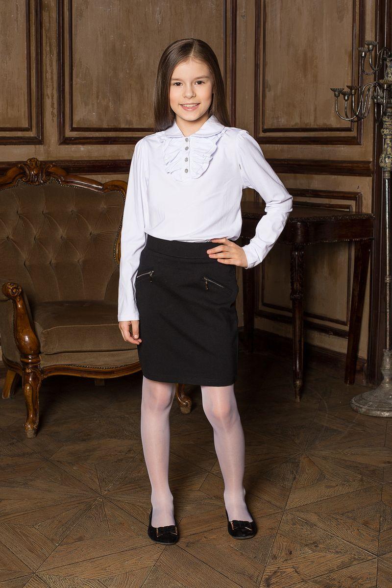 205604Блуза для девочек с длинным рукавом из качественного натурального трикотажа. Воротник модели декорирован трикотажной рюшей.
