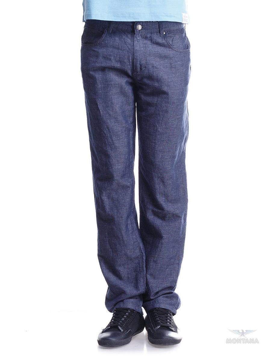 Брюки мужские. 2005420054 RW Lt BlueЛегкие и комфортные брюки из натуральной ткани меланжево-джинсового цвета прямого кроя, посадка - выше средней, застежка- молния и пуговица, 5 карманов, на задних карманах фирменная строчка, оригинальная фурнитура Montana