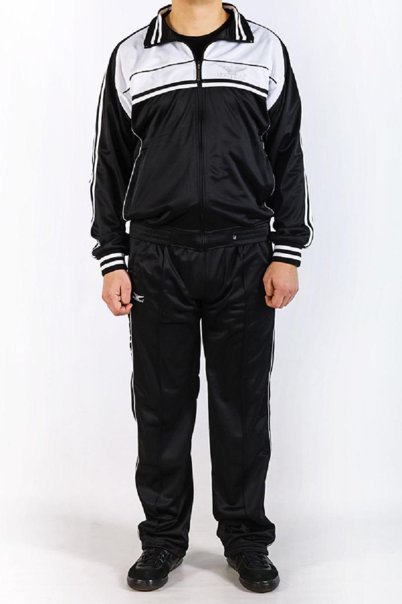Костюм спортивный мужской. 2705127051 NTСпортивный костюм MONTANA темно-синего цвета с бирюзовыми вставками, с нагрудным вышитым фирменным лого,на спине куртки большая надпись MONTANA; куртка на разъемной молнии с металлическим бегунком и собачкой с гравировкой фирменного лого, куртка с внутренним трикотажным воротником - стойкой для большей гигроскопичности; по спинке куртки тонкая перфорированная трикотажная подкладка, два боковых кармана на молнии с металлическим бегунком и собачкой с гравировкой фирменного лого;низ рукавов на широкой эластичной резинке, низ куртки на отстроченной резинке; штаны прямого кроя с комфортной баевой изнанкой , штаны на резинке с кулиской на шнурке, спереди косые карманы на молнии , сзади один прорезной карман на молнии , по бокам брюк печать фирменного лого MONTANA, на брюках по переду отстрочены стрелки, низ спортивных брюк на кулиске с фиксатором; в состав костюма входит полиэстер, благодаря которому костюм не садится, сохраняет первоначальную форму и цвет, за счет полиэстера костюм легкий,...