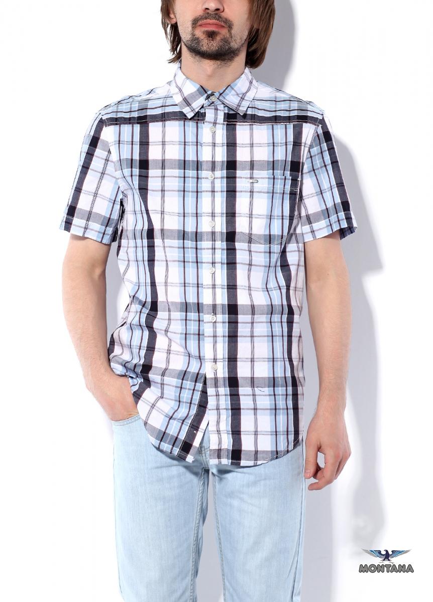 Рубашка мужская. 1106111061 NBWМужская рубашка в бело-синюю клетку, с коротким рукавом, по переду и спинке подкройные кокетки, один нагрудный карман с фирменной нашивкой Montana, воротник на стойке, застежка на пуговицах. Модель выполнена из тонкой рубашечной хлопковой ткани.