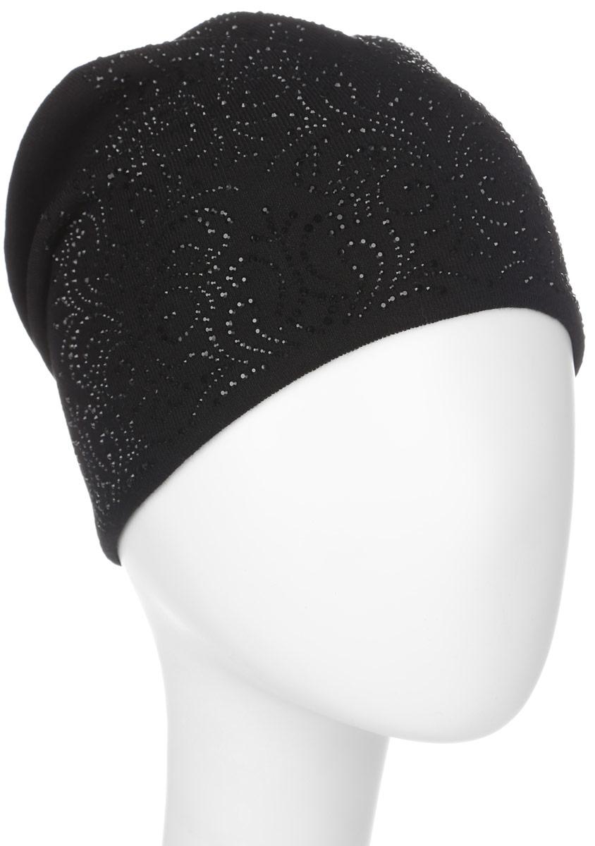 Шапка женская. 391421391421Стильная женская шапка Level Pro дополнит ваш наряд и не позволит вам замерзнуть в холодное время года. Шапка выполнена из шерсти с добавлением полиэстера , что позволяет ей великолепно сохранять тепло и обеспечивает высокую эластичность и удобство посадки. Внутренняя сторона модели трикотажная. Изделие оформлено оригинальным узором из блестящих страз. На макушке модель присборена и дополнена небольшой пуговичкой. Такая шапка составит идеальный комплект с модной верхней одеждой, в ней вам будет уютно и тепло.