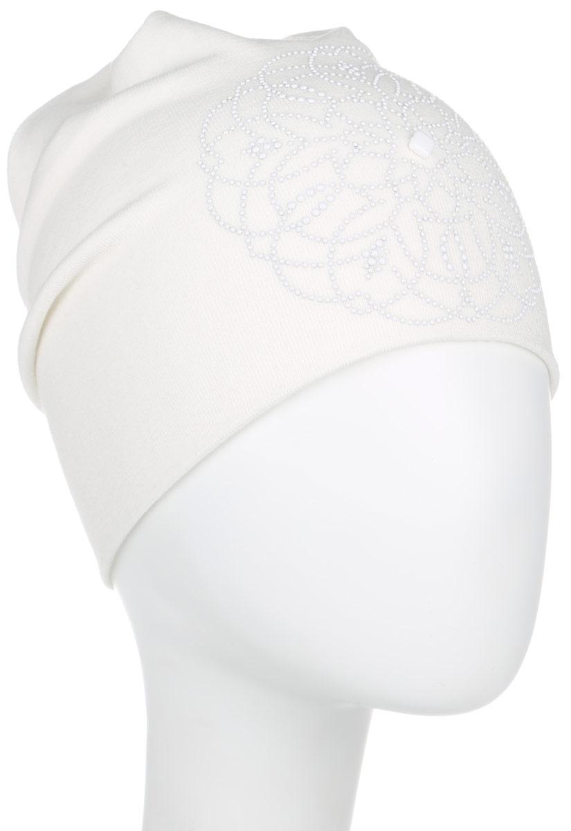Шапка женская. 391378391378Стильная женская шапка Level Pro дополнит ваш наряд и не позволит вам замерзнуть в холодное время года. Шапка наполовину выполнена из шерсти с добавлением полиэстера , что позволяет ей великолепно сохранять тепло и обеспечивает высокую эластичность и удобство посадки. Изделие оформлено оригинальным цветочным принтом, выполненным из матовых страз. Макушка оформлена в виде круговорота. Верх шапки сквозной. Такая шапка составит идеальный комплект с модной верхней одеждой, в ней вам будет уютно и тепло.