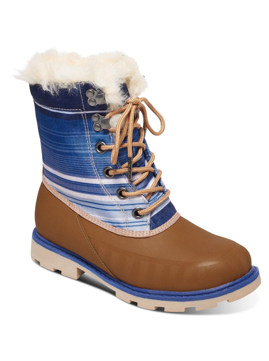 ARJB500007-BURНевероятно удобные и стильные женские полусапоги от Roxy Himalaya - займут достойное место в вашем гардеробе. Модель выполнена в нижней части из натуральной кожи, а голенище - из текстиля с водоотталкивающей пропиткой, оформленного яркими полосками. Верх изделия дополнен шнуровкой, которая надежно фиксирует модель на ноге и регулирует объем. Отверстия для шнурков с металлическими люверсами. Подкладка из искусственного меха и утепленного текстиля защитит ноги от холода. Стелька с эффектом памяти из искусственного меха обеспечит комфорт и уют. Обувь вдоль ранта на носке украшена декоративным тиснением, а по канту и на язычке - искусственным мехом контрастного цвета. Подошва с рельефным протектором обеспечивает отличное сцепление с любой поверхностью. Стильные ботинки отлично подойдут как для простой прогулки, так и для дальней поездки.
