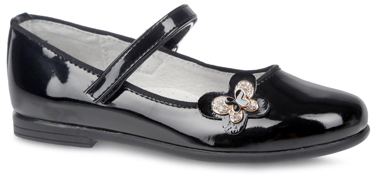 Туфли для девочки. 200550200550Замечательные туфли для девочки от фирмы Mursu очаруют вашу девочку с первого взгляда! Модель выполнена из искусственной лакированной кожи. На боковой стороне изделия расположена бабочка с металлической вставкой, украшенная стразами. Подкладка и стелька изготовлены из натуральной кожи, что предотвращает натирание и гарантирует уют. Ремешок на застежке- липучке обеспечивает надежную фиксацию на ноге. Стелька оснащена супинатором с перфорацией, который гарантирует правильное положение ноги ребенка при ходьбе и предотвращает плоскостопие Стильные туфли займут достойное место в гардеробе вашей девочки.