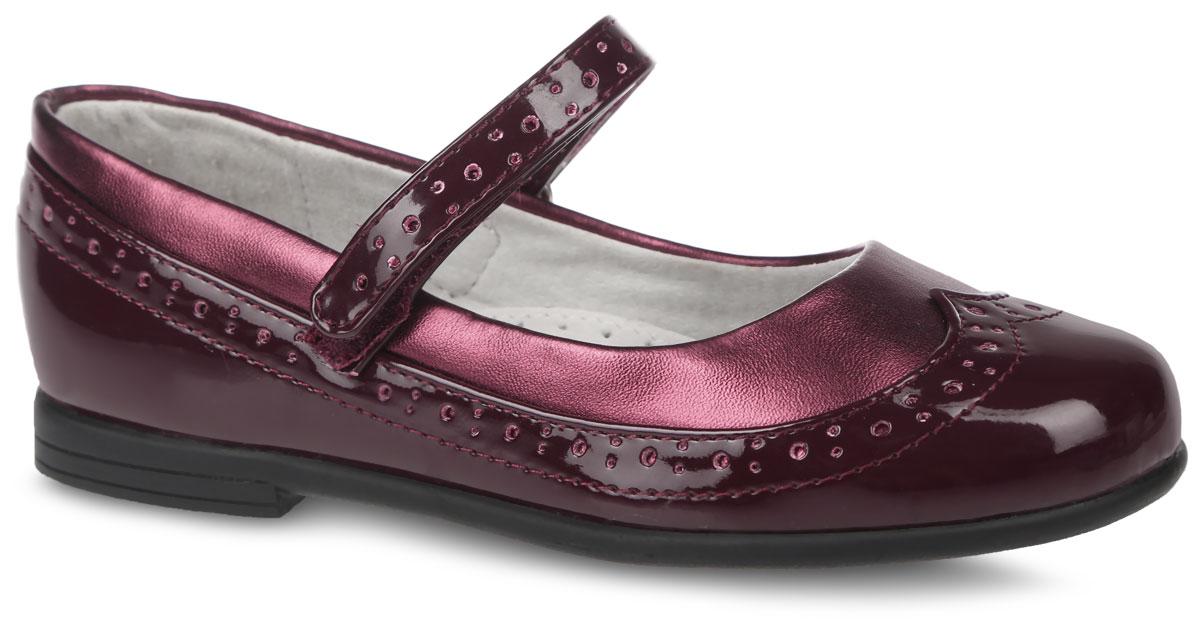 Туфли для девочки. 200549200549Классические туфли от фирмы Mursu очаруют вашу девочку с первого взгляда! Модель выполнена из комбинированной искусственной кожи. Подкладка и стелька изготовлены из натуральной кожи, что предотвращает натирание и гарантирует уют. Ремешок на застежке- липучке обеспечит надежную фиксацию на ноге. Стелька оснащена супинатором с перфорацией, который гарантирует правильное положение ноги ребенка при ходьбе и предотвращает плоскостопие Стильные туфли займут достойное место в гардеробе вашей девочки.