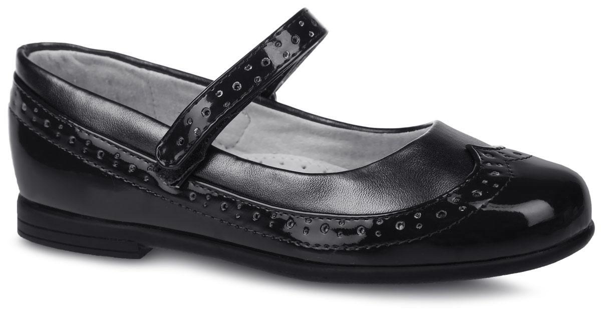 200548Классические туфли от фирмы Mursu очаруют вашу девочку с первого взгляда! Модель выполнена из комбинированной искусственной кожи. Подкладка и стелька изготовлены из натуральной кожи, что предотвращает натирание и гарантирует уют. Ремешок на застежке- липучке обеспечит надежную фиксацию на ноге. Стелька оснащена супинатором с перфорацией, который гарантирует правильное положение ноги ребенка при ходьбе и предотвращает плоскостопие Стильные туфли займут достойное место в гардеробе вашей девочки.