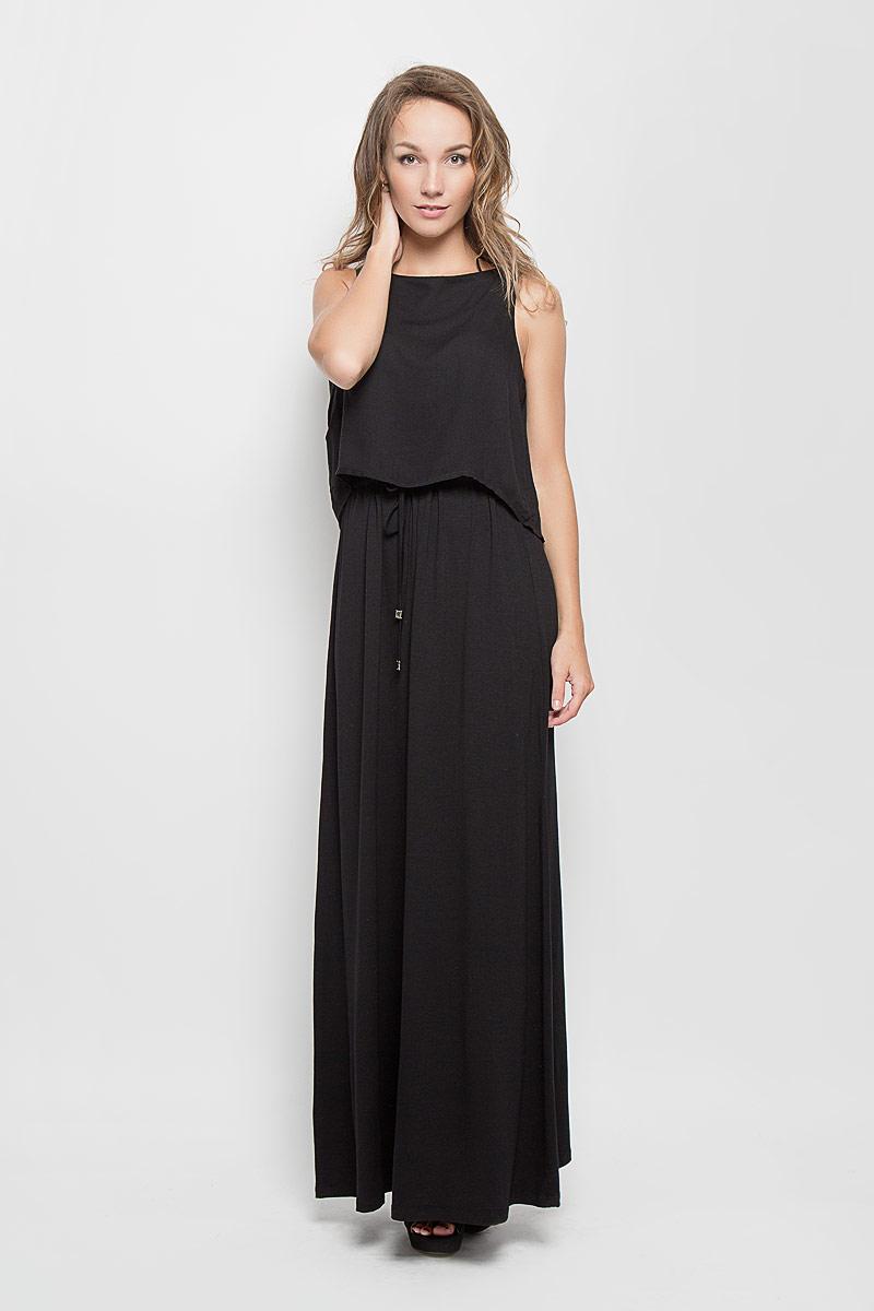 Платье5019239.00.75_2999Стильное платье Tom Tailor подчеркнет ваш уникальный стиль и поможет создать оригинальный женственный образ. Модель, изготовленная из вискозы, очень мягкая, тактильно приятная, не сковывает движения и позволяет коже дышать. Платье-макси с круглым вырезом горловины дополнено на поясе затягивающимся шнурком. Верхняя часть модели дополнена несъемным топом, выполненным из вискозы с добавлением эластана, который оформлен на спинке декоративным разрезом. Такое платье станет стильным дополнением к вашему гардеробу и вы всегда будете в центре внимания!