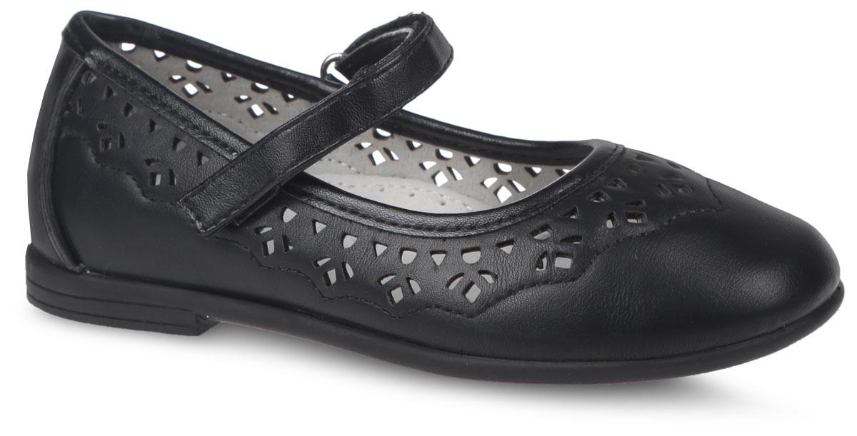 Туфли для девочки. 200554200553Очаровательные туфли от фирмы Mursu прекрасно дополнят образ вашей маленькой модницы. Модель выполнена из искусственной кожи и оформлена декоративной перфорацией и прошивкой. Изделие фиксируется на ноге с помощью удобного ремешка с застежкой-липучкой. Внутренняя поверхность, выполненная из натуральной кожи, обеспечивает комфорт и предотвращает натирание. Стелька дополнена небольшим супинатором с перфорацией, который обеспечивает правильное положение стопы ребенка при ходьбе и предотвращает плоскостопие. Подошва изготовлена из легкого и гибкого ТЭП-материала, а ее рифление защищает изделие от скольжения. Стильные и удобные туфли - незаменимая вещь в гардеробе каждой школьницы.