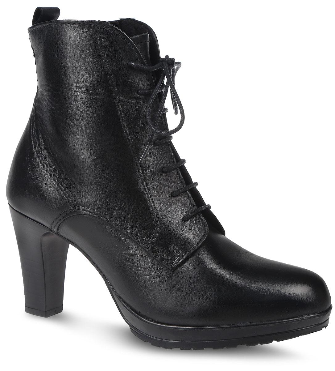 Ботильоны. 1-1-25230-27-0011-1-25230-27-001Элегантные ботильоны от Tamaris займут достойное место в вашем гардеробе. Модель выполнена из натуральной гладкой кожи и оформлена прошивкой. На ноге модель фиксируется с помощью удобной боковой молнии и классической шнуровки. Ярлычок на заднике облегчит надевание обуви. Внутренняя поверхность и стелька выполнены из мягкого ворсистого текстиля, комфортного при движении. Подошва и каблук выполнены из качественных искусственных материалов. Удобный устойчивый каблук оформлен тиснением в полоску. Рифленая поверхность подошвы защищает изделие от скольжения. Такие стильные ботильоны помогут вам создать свой модный образ.