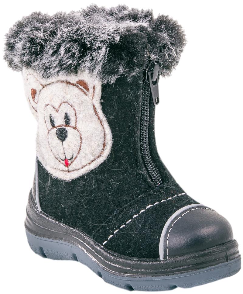 367072-41Материал верха плотный обувной войлок. Носочная часть защищена кожаным отрезным носком с покрытием, что придаёт носочной части износостойкость и защиту от химических реагентов. Есть светоотражающие элементы. Подошва модели литьевая, двуслойная, что придаёт ей лёгкость и гибкость. Материал подкладки - шерстяной мех из натуральной овечьей шерсти отлично сохраняет тепло, отводит влагу от ноги, придает дополнительный комфорт. Фиксация на ножке достигается благодаря молнии отлично раскрывающей модель во время процесса обувания.