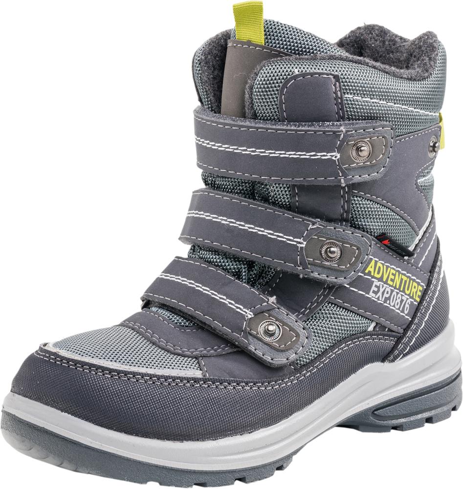 Ботинки654923-42Модные ботинки для мальчика от Котофей выполнены из текстиля, натуральной и искусственной кожи. Подкладка и стелька из шерстяного меха не дадут ногам замерзнуть. Ремешки с застежками-липучками надежно зафиксируют модель на ноге. Подошва дополнена рифлением.