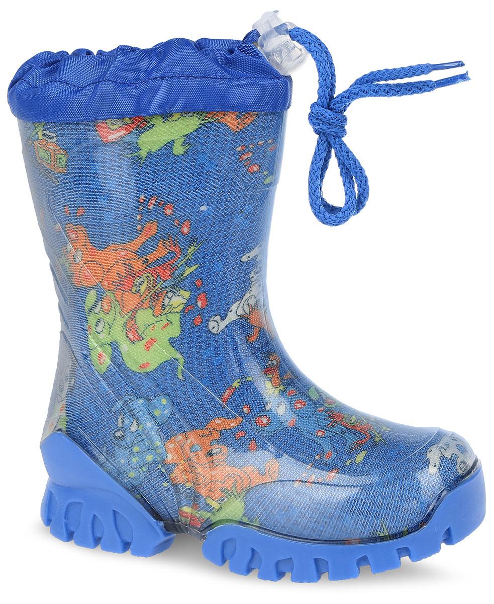 Резиновые сапоги детские. 10731-510731-5Стильные резиновые сапоги от фирмы Зебра - идеальная обувь для прогулки в ненастную погоду. Модель выполнена из качественного ПВХ и оформлена оригинальным принтом. Модель дополнена текстильным верхом, объем которого регулируется за счет шнурка с фиксатором. Подкладка выполнена из искусственной шерсти, которая обеспечит тепло. Съемная стелька из войлока гарантирует комфорт при носке. Рельефная подошва гарантирует отличное сцепление с любой поверхностью. Такие оригинальные и практичные резиновые сапоги займут достойное место в гардеробе вашего ребенка.