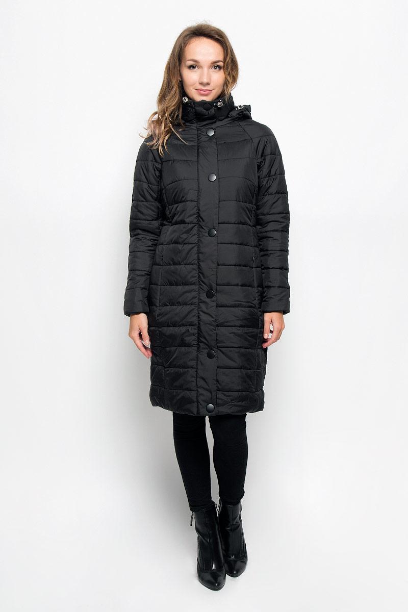 Cep-126/668-6313Удобное и теплое женское пальто Sela согреет вас в прохладную погоду и позволит выделиться из толпы. Удлиненная модель с длинными рукавами-реглан, воротником-стойкой и съемным капюшоном выполнена из прочного полиэстера, застегивается на молнию спереди и имеет ветрозащитный клапан на кнопках. Объем капюшона регулируется при помощи шнурка-кулиски со стопперами. Изделие дополнено двумя втачными карманами на молниях. Плотный наполнитель из синтепона и подкладка из полиэстера надежно сохранят тепло, благодаря чему такое пальто защитит вас от ветра и холода. Это модное и комфортное пальто - отличный вариант для прогулок, оно подчеркнет ваш изысканный вкус и поможет создать неповторимый образ.