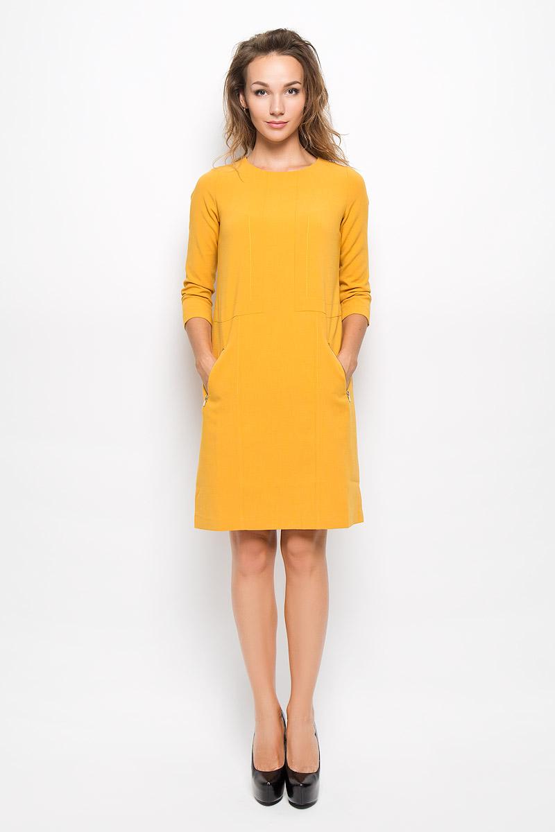 B434_BlackЭлегантное платье Baon выполнено из высококачественного эластичного полиэстера с добавлением вискозы. Такое платье обеспечит вам комфорт и удобство при носке и непременно вызовет восхищение у окружающих. Платье превосходно тянется, обладает высокой износостойкостью и отлично сидит по фигуре. Модель средней длины с рукавами 7/8 и круглым вырезом горловины выгодно подчеркнет все достоинства вашей фигуры. Платье застегивается на застежку-молнию на спинке. Спереди расположены два втачных кармана на застежках-молниях. Изысканное платье-миди создаст обворожительный и неповторимый образ. Это модное и комфортное платье станет превосходным дополнением к вашему гардеробу, оно подарит вам удобство и поможет подчеркнуть ваш вкус и неповторимый стиль.