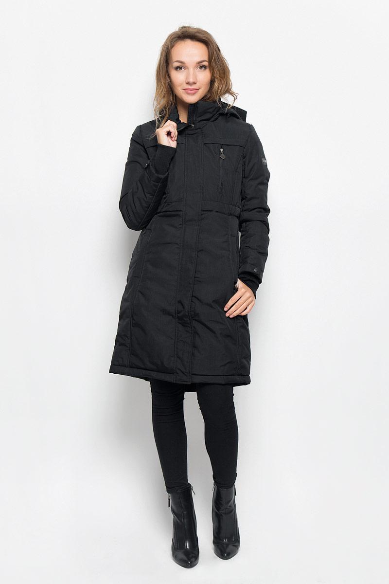 ПальтоCep-126/663-6313Удобное и теплое женское пальто Sela с наполнителем из полиэстера согреет вас в холодную погоду и позволит выделиться из толпы. Удлиненная модель с воротником-стойкой и несъемным капюшоном выполнена из водоотталкивающего и ветронепроницаемого нейлона, застегивается на молнию спереди и имеет ветрозащитный клапан на кнопках. Объем капюшона регулируется при помощи шнурка-кулиски со стопперами. Изделие дополнено двумя втачными карманами на кнопках, с внутренней стороны одним накладным карманом. На груди модель оформлена имитацией двух врезных карманов на застежках-молниях. Рукава дополнены плотными трикотажными манжетами, что предотвращает проникновение холодного воздуха, а также хлястиками на кнопках. На талии имеется скрытый затягивающийся шнурок. Это модное и комфортное пальто - отличный вариант для прогулок, оно подчеркнет ваш изысканный вкус и поможет создать неповторимый образ.