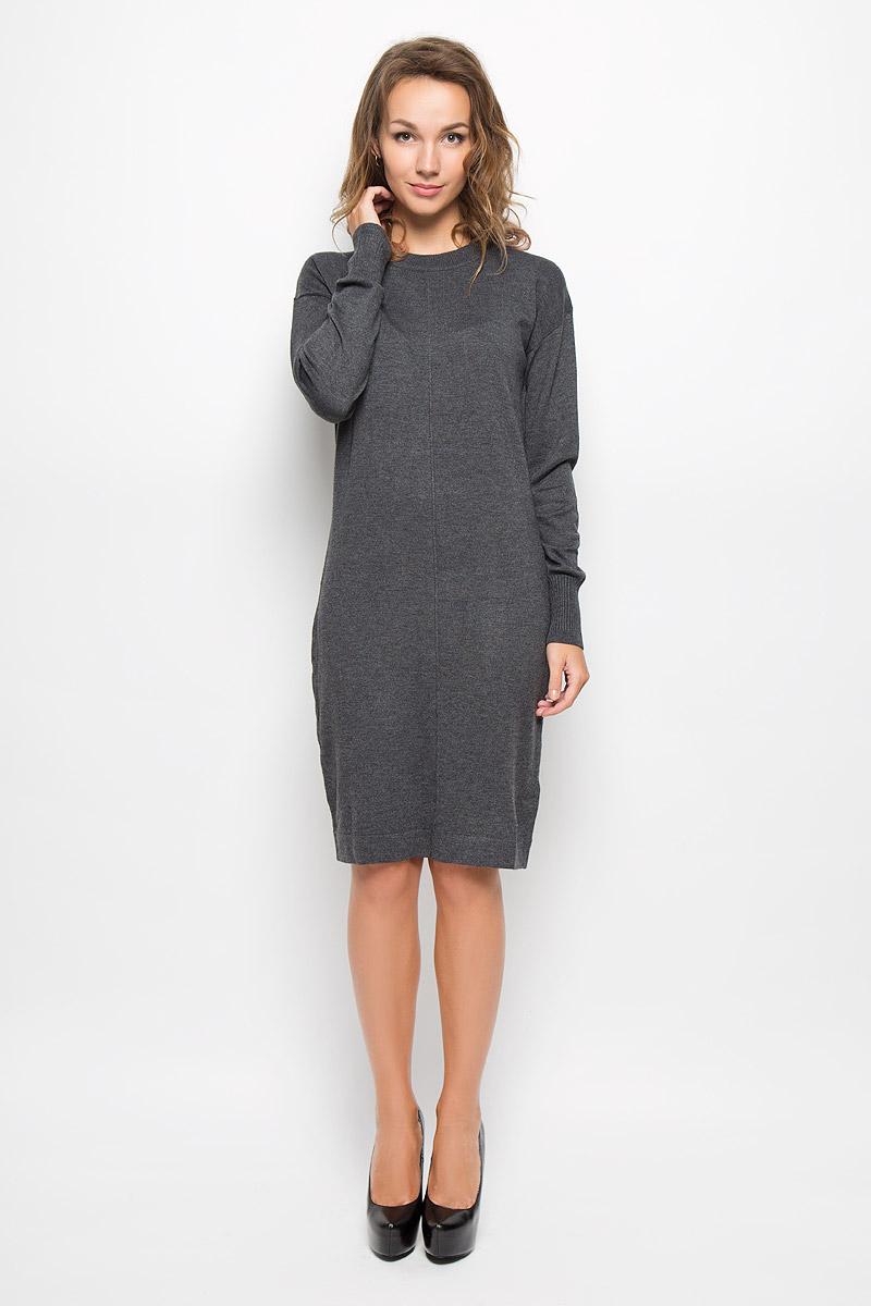 ПлатьеB429_MARENGO MELANGEЭлегантное трикотажное платье Baon выполнено из высококачественного комбинированного материала. Такое платье обеспечит вам комфорт и удобство при носке и непременно вызовет восхищение у окружающих. Платье-миди с круглым вырезом горловины и длинными рукавами. Горловина и низ рукавов связаны резинкой. Изысканное платье-миди создаст обворожительный и неповторимый образ. Это модное и комфортное платье станет превосходным дополнением к вашему гардеробу, оно подарит вам удобство и поможет подчеркнуть ваш вкус и неповторимый стиль.