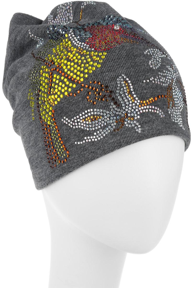 Шапка женская. 389074389074Стильная женская шапка Level Pro дополнит ваш наряд и не позволит вам замерзнуть в холодное время года. Шапка наполовину выполнена из шерсти с добавлением полиэстера , что позволяет ей великолепно сохранять тепло и обеспечивает высокую эластичность и удобство посадки. Внутренняя сторона модели трикотажная. Изделие оформлено оригинальным цветочным принтом из блестящих страз с изображением птички колибри. Сзади модель присборена и дополнена небольшим стразом. Такая шапка составит идеальный комплект с модной верхней одеждой, в ней вам будет уютно и тепло.