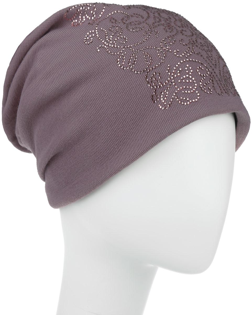 Шапка женская. 994609994609Стильная женская шапка дополнит ваш наряд и не позволит вам замерзнуть в холодное время года. Шапка наполовину выполнена из шерсти с добавлением полиэстера , что позволяет ей великолепно сохранять тепло и обеспечивает высокую эластичность и удобство посадки. Внутренняя сторона модели флисовая. Удлиненное изделие оформлено оригинальным цветочным принтом из блестящих страз. Такая шапка составит идеальный комплект с модной верхней одеждой, в ней вам будет уютно и тепло.