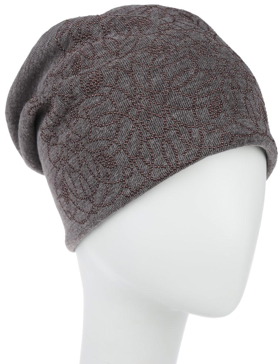 Шапка женская Стерео. 99455/391561_узор1994556Стильная женская шапка Level Pro Стерео дополнит ваш наряд и не позволит вам замерзнуть в холодное время года. Шапка наполовину выполнена из шерсти с добавлением полиэстера , что позволяет ей великолепно сохранять тепло и обеспечивает высокую эластичность и удобство посадки. Внутренняя сторона модели флисовая. Удлиненное изделие оформлено оригинальным цветочным принтом из матовых бусин и на макушке шапки прикреплен небольшой блестящий ромбик. Такая шапка составит идеальный комплект с модной верхней одеждой, в ней вам будет уютно и тепло.
