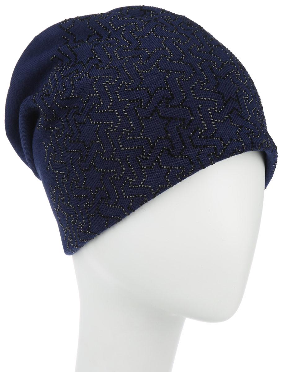 Шапка женская Звезды. 99452_звезды994527Стильная женская шапка Level Pro Звезды дополнит ваш наряд и не позволит вам замерзнуть в холодное время года. Шапка наполовину выполнена из шерсти с добавлением полиэстера, что позволяет ей великолепно сохранять тепло и обеспечивает высокую эластичность и удобство посадки. Внутренняя сторона модели флисовая. Удлиненное изделие оформлено оригинальным принтом из блестящих страз и на макушке шапки прикреплена небольшая пуговица. Такая шапка составит идеальный комплект с модной верхней одеждой, в ней вам будет уютно и тепло.
