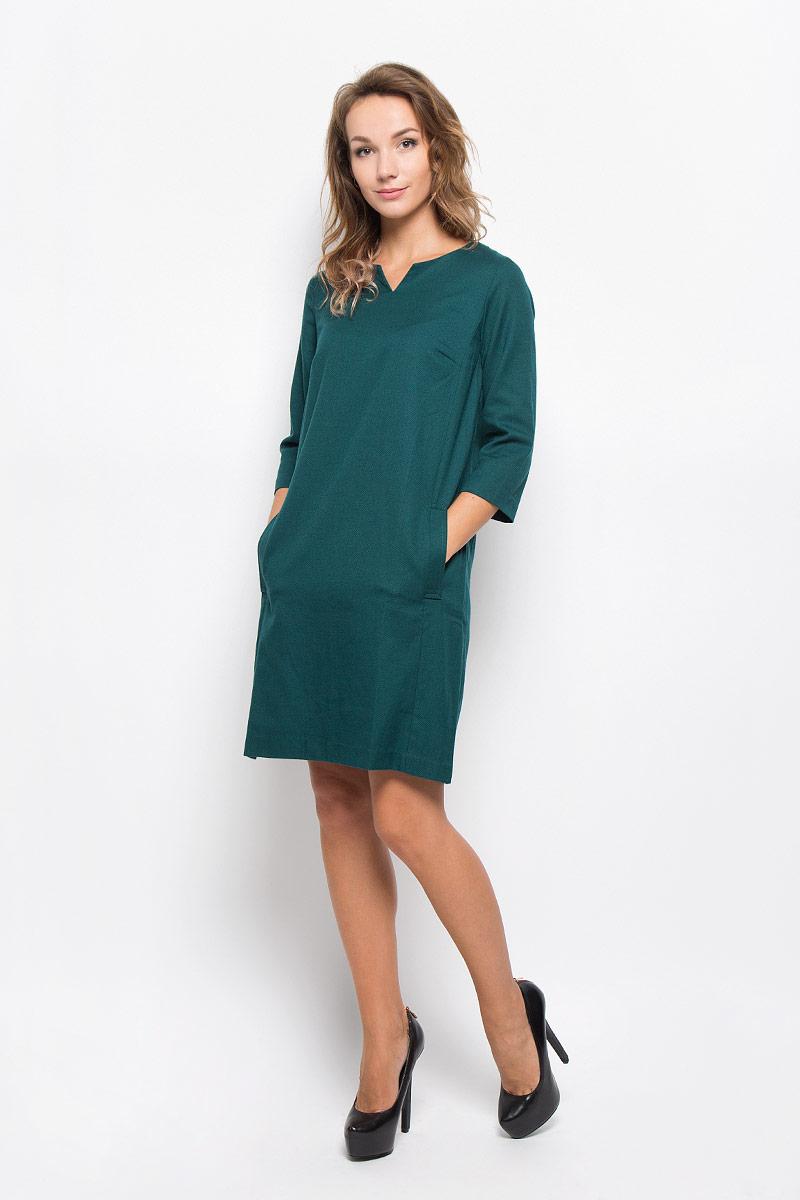 B412_NIGHT FORESTЭлегантное платье Baon выполнено из высококачественного плотного трикотажа. Такое платье обеспечит вам комфорт и удобство при носке и непременно вызовет восхищение у окружающих. Модель средней длины с рукавами 3/4 и V-образным вырезом горловины выгодно подчеркнет все достоинства вашей фигуры. Изделие застегивается на застежку-молнию на спинке и имеет два втачных кармана по бокам. Изысканное платье-миди создаст обворожительный и неповторимый образ. Это модное и комфортное платье станет превосходным дополнением к вашему гардеробу, оно подарит вам удобство и поможет подчеркнуть ваш вкус и неповторимый стиль.
