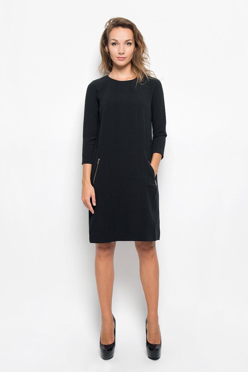 ПлатьеB434_BlackЭлегантное платье Baon выполнено из высококачественного эластичного полиэстера с добавлением вискозы. Такое платье обеспечит вам комфорт и удобство при носке и непременно вызовет восхищение у окружающих. Платье превосходно тянется, обладает высокой износостойкостью и отлично сидит по фигуре. Модель средней длины с рукавами 7/8 и круглым вырезом горловины выгодно подчеркнет все достоинства вашей фигуры. Платье застегивается на застежку-молнию на спинке. Спереди расположены два втачных кармана на застежках-молниях. Изысканное платье-миди создаст обворожительный и неповторимый образ. Это модное и комфортное платье станет превосходным дополнением к вашему гардеробу, оно подарит вам удобство и поможет подчеркнуть ваш вкус и неповторимый стиль.
