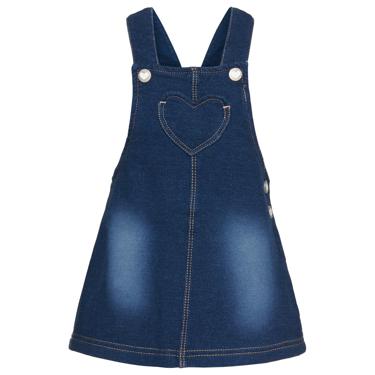 Сарафан5019158.00.21_1095Стильный джинсовый сарафан с эффектом потертости ткани. Расклешенный покрой. Отстрочка контрастного цвета. Модель оформлена нагрудным карманом в форме сердца.