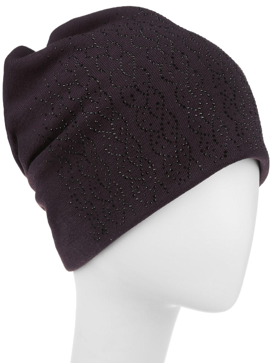 Шапка женская. 996358996358Стильная женская шапка Level Pro дополнит ваш наряд и не позволит вам замерзнуть в холодное время года. Шапка наполовину выполнена из шерсти с добавлением полиэстера, что позволяет ей великолепно сохранять тепло и обеспечивает высокую эластичность и удобство посадки. Сзади шапка присборена. Внутри - флисовая подкладка. Оформлена модель аппликацией из страз и на макушке дополнена большой стразой. Такая шапка составит идеальный комплект с модной верхней одеждой.