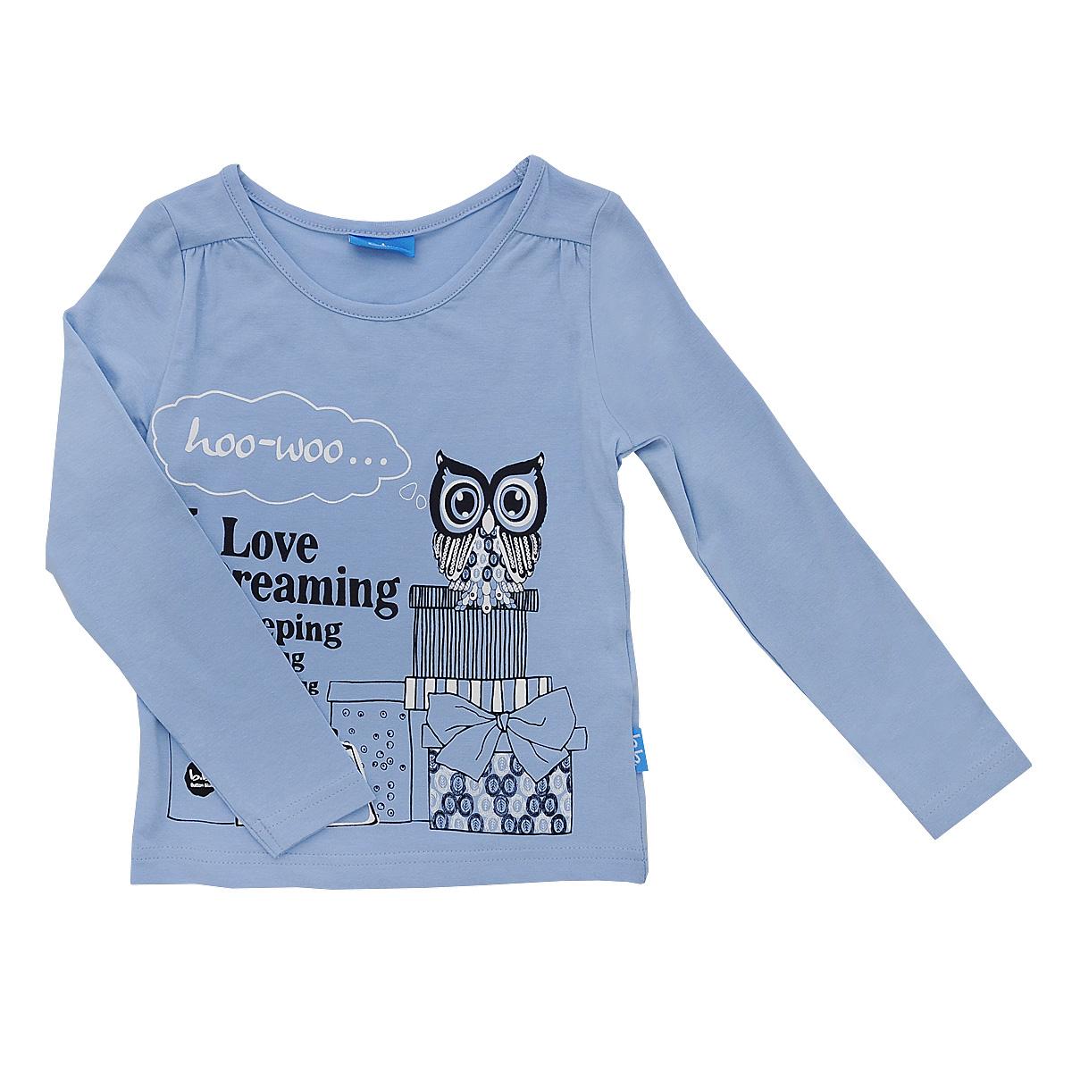 Футболка с длинным рукавом для девочки. 214BBGC1203214BBGC1203Стильная футболка с длинным рукавом для девочки Button Blue идеально подойдет вашей моднице. Изготовленная из эластичного хлопка, она мягкая и приятная на ощупь, не сковывает движения и позволяет коже дышать, не раздражает даже самую нежную и чувствительную кожу ребенка, обеспечивая ему наибольший комфорт. Футболка с длинными рукавами и круглым вырезом горловины спереди оформлена принтовой надписью и оригинальным принтом с изображением совы и покупок. На плечах имеются небольшие декоративные складочки. Оригинальный современный дизайн и модная расцветка делают эту футболку стильным предметом детского гардероба. В ней ваша принцесса будет чувствовать себя уютно и комфортно, и всегда будет в центре внимания!