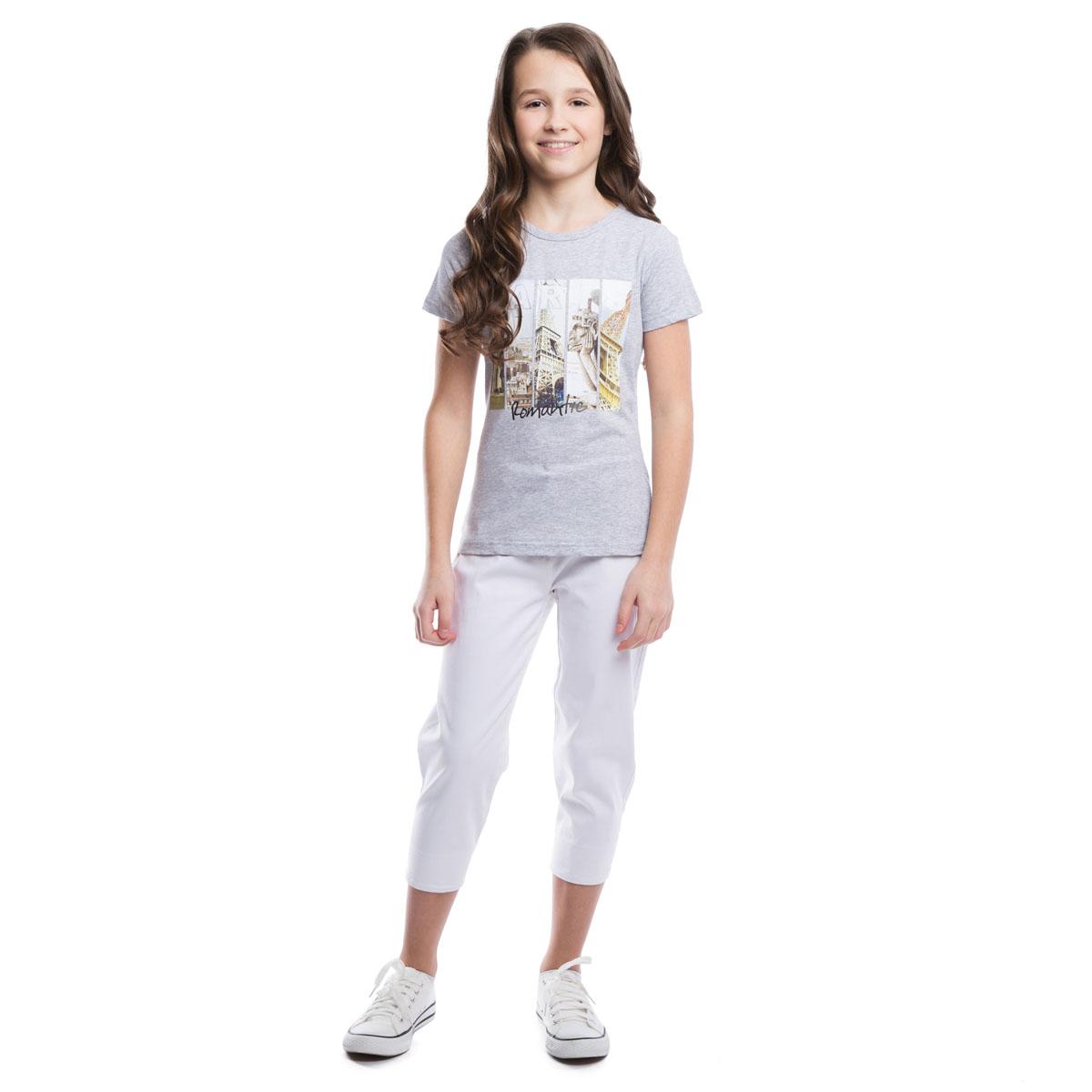 264013Стильная хлопковая футболка цвета серый меланж.Украшена резиновым фотопринтом с видами Парижа.