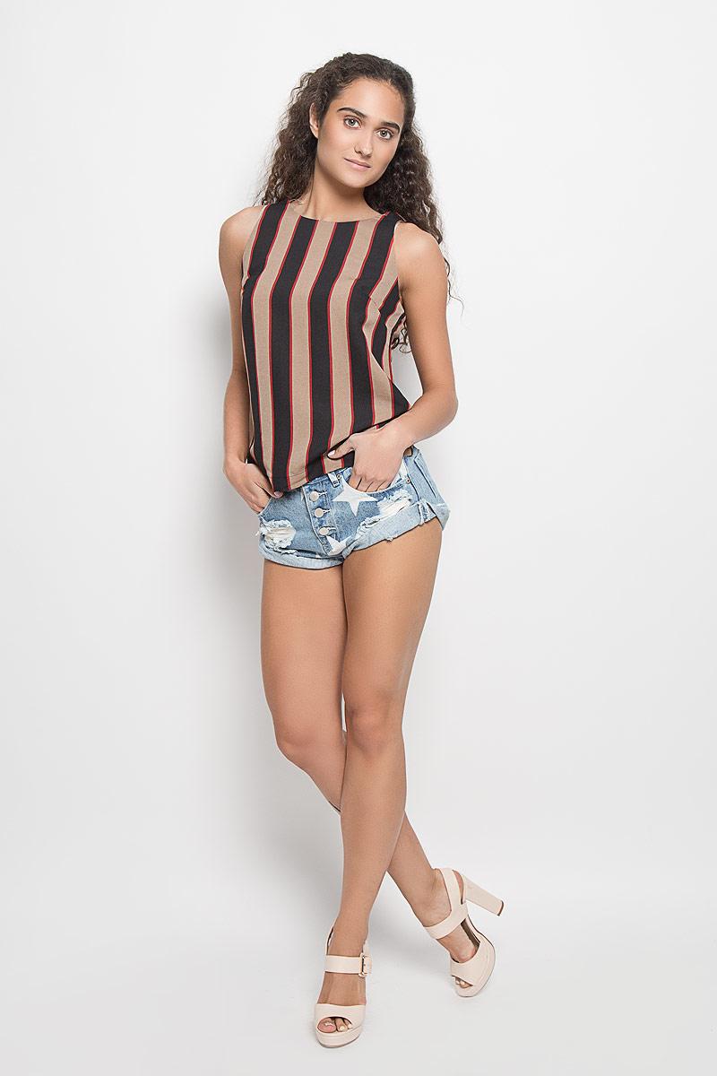 ТопYH2090A_Stone Black Red StripeЖенский топ Glamorous, выполненный из полиэстера, станет прекрасным дополнением к вашему гардеробу. Модель с круглым вырезом горловины, застегивается на спинке на застежку-молнию. По всей поверхности топ оформлен принтом в полоску. Современный дизайн и расцветка делают этот топ стильным и ярким предметом женской одежды. Он отлично дополнит ваш образ и позволит выделится из толпы.