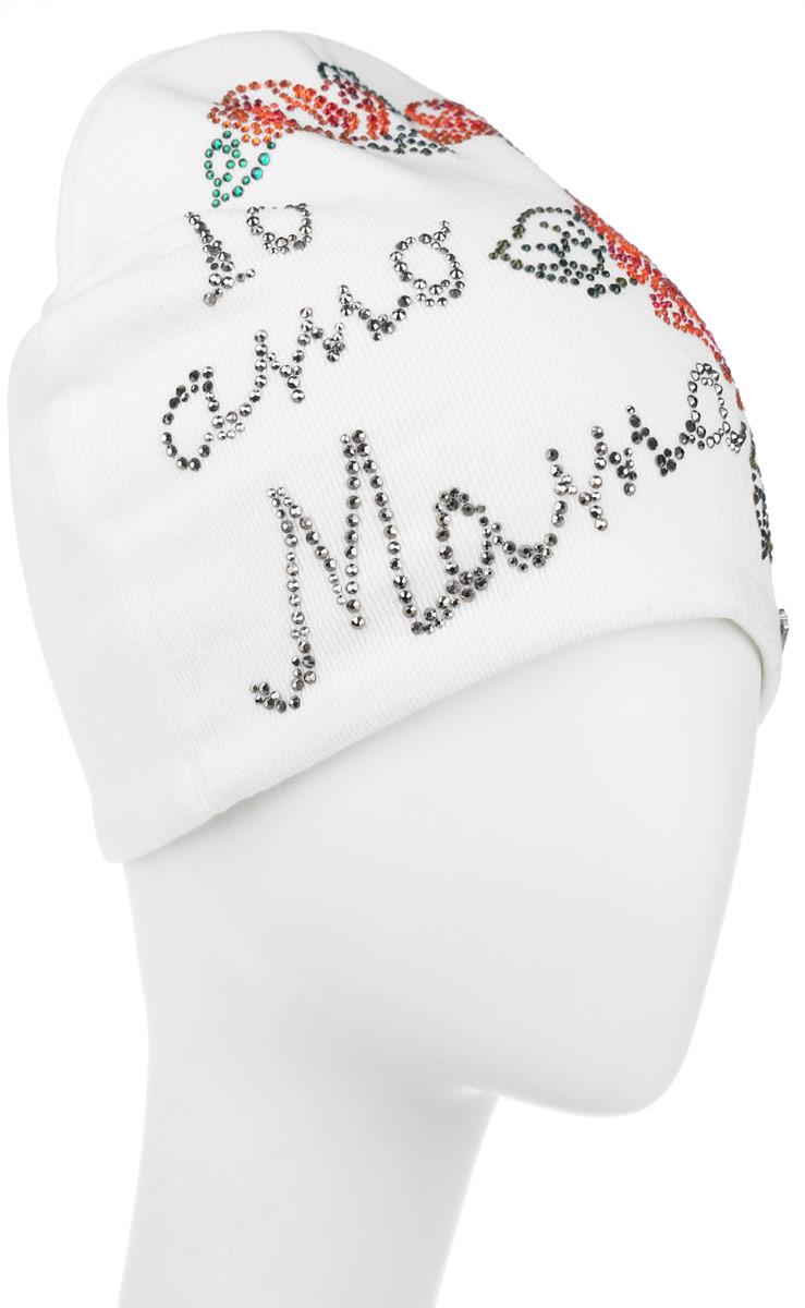Шапка женская. 388999388999Стильная женская шапка Level Pro дополнит ваш наряд и не позволит вам замерзнуть в холодное время года. Шапка наполовину выполнена из шерсти с добавлением полиэстера, что позволяет ей великолепно сохранять тепло и обеспечивает высокую эластичность и удобство посадки. Внутренняя сторона модели трикотажная. Изделие оформлено цветочным принтом из блестящих страз, дополнена пластиной с логотипом бренда. Такая шапка составит идеальный комплект с модной верхней одеждой, в ней вам будет уютно и тепло.
