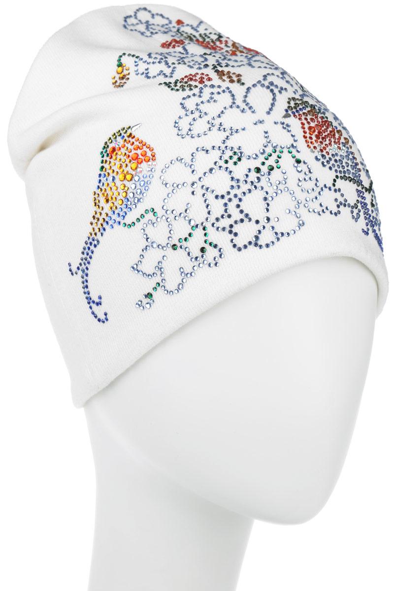 Шапка женская Птицы. 38897388972Стильная женская шапка Level Pro Птицы дополнит ваш наряд и не позволит вам замерзнуть в холодное время года. Шапка наполовину выполнена из шерсти с добавлением полиэстера , что позволяет ей великолепно сохранять тепло и обеспечивает высокую эластичность и удобство посадки. Внутренняя сторона модели трикотажная. Изделие оформлено оригинальным цветочным принтом, выложенным из блестящих страз. Такая шапка составит идеальный комплект с модной верхней одеждой, в ней вам будет уютно и тепло.