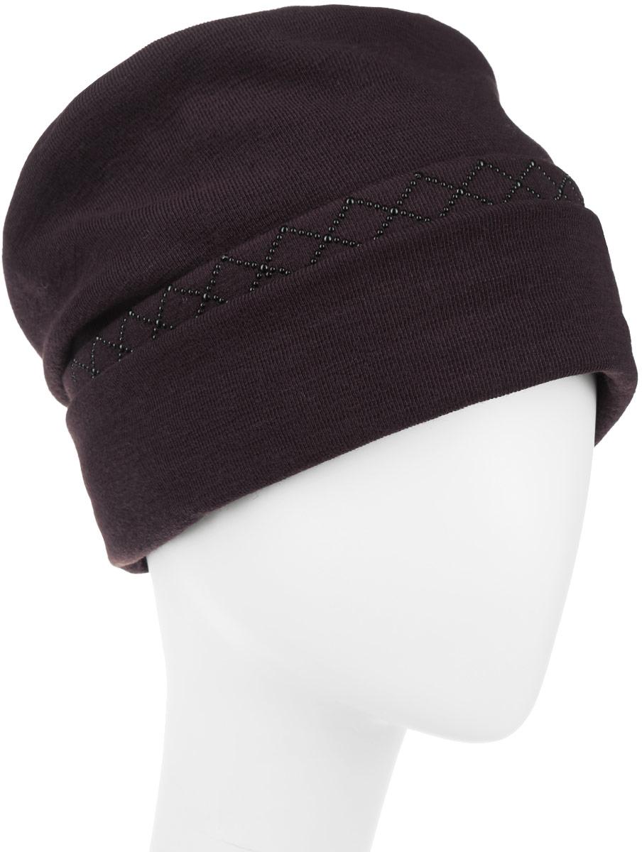 Шапка женская. 994377994377Стильная женская шапка Level Pro дополнит ваш наряд и не позволит вам замерзнуть в холодное время года. Шапка наполовину выполнена из шерсти с добавлением полиэстера, что позволяет ей великолепно сохранять тепло и обеспечивает высокую эластичность и удобство посадки. Внутренняя сторона модели флисовая. Изделие оформлено оригинальными тканевыми прострочками спереди и сзади. Дополнено выкладкой из блестящих страз. Такая шапка составит идеальный комплект с модной верхней одеждой, в ней вам будет уютно и тепло.
