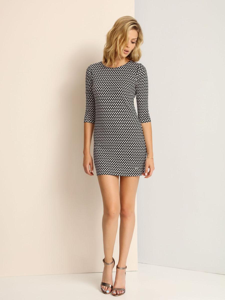 ПлатьеSSU1694CAМодное платье Top Secret, изготовленное из полиэстера и вискозы с добавлением эластана, приятное на ощупь, не сковывает движения и обеспечивает комфорт. Модель-миди с круглым вырезом горловины и рукавами 3/4 оформлено оригинальным принтом.