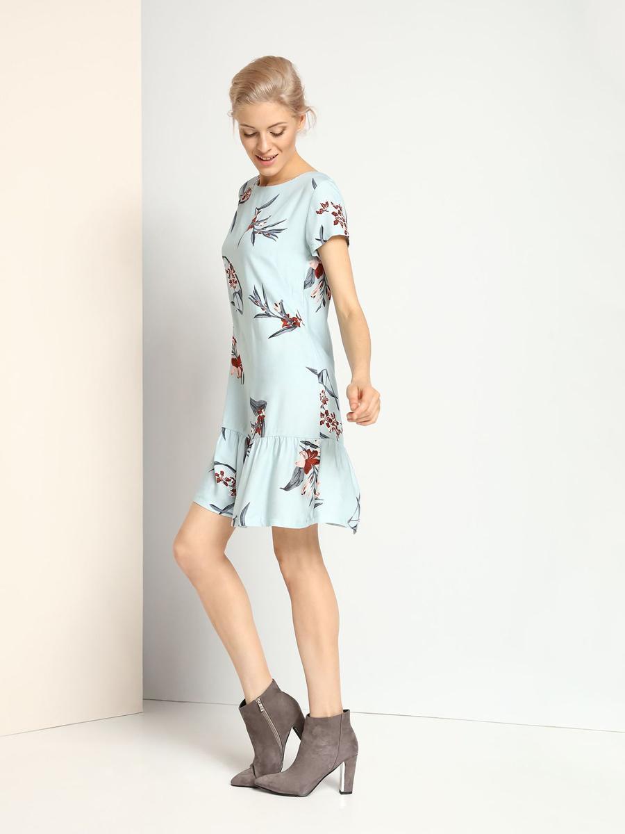 SSU1683NIКлассической платье Top Secret, изготовленное из 100% вискозы, приятное на ощупь, не раздражает кожу и хорошо вентилируется. Модель-миди с короткими рукавами застегивается на спинке на пуговицу. Низ юбки дополнен элегантными складочками. Оформлена модель контрастным цветочным принтом.