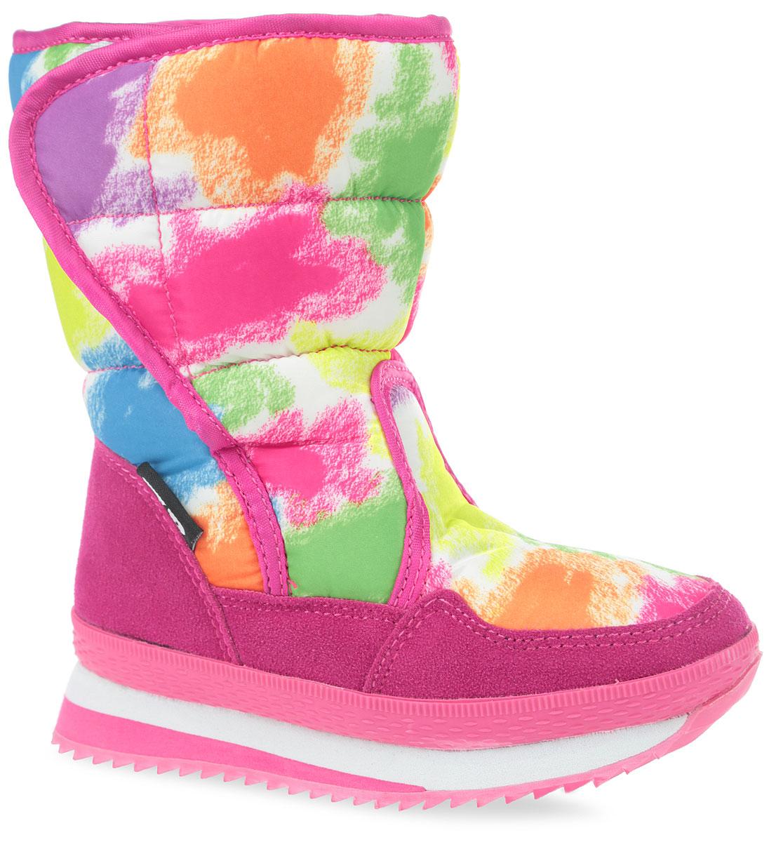 Полусапоги для девочки. 925-621IM-17w-8/02-11925-621IM-17w-8/02-11Яркие дутики от фирмы Patrol понравятся вашей юной моднице в первого взгляда. Обувь изготовлена из текстиля и искусственного спилока. Модель оформлена оригинальным принтом и декоративной прострочкой. На ноге модель фиксируется с помощью удобной застежки-липучки, расположенной на боковой стороне. Внутренняя поверхность выполнена из искусственного меха, который надежно защитит ножку от холода и обеспечит комфорт. Подошва изготовлена из мягкой и легкой резины, а ее рифление обеспечит отличное сцепление с любой поверхностью. Такие модные и теплые дутики займут достойное место в гардеробе вашей девочки.