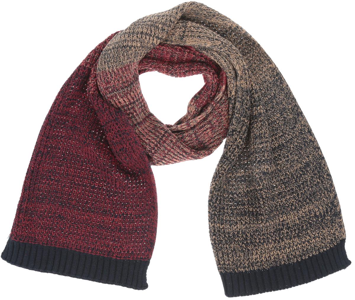 Шарф мужской. SC-242/017-6303SC-242/017-6303Элегантный вязаный мужской шарф Sela согреет вас в холодное время года, а также станет изысканным аксессуаром, который призван подчеркнуть ваш стиль и индивидуальность. Оригинальный теплый шарф выполнен из 100% хлопка. Шарф оформлен разноцветной вязкой. Такой шарф станет превосходным дополнением к любому наряду, защитит вас от ветра и холода и позволит вам создать свой неповторимый стиль.